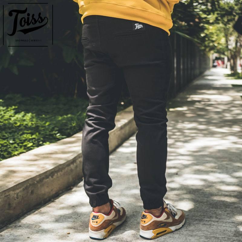 【ネイマール愛用ブランドTOISS】トイスクロップドジョガーパンツ|裾ゴム ブラック