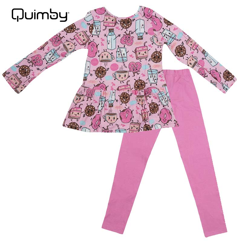 ■30% OFF■ 【QUIMBY】子供服パジャマ スイーツプリント上下セット ピンク
