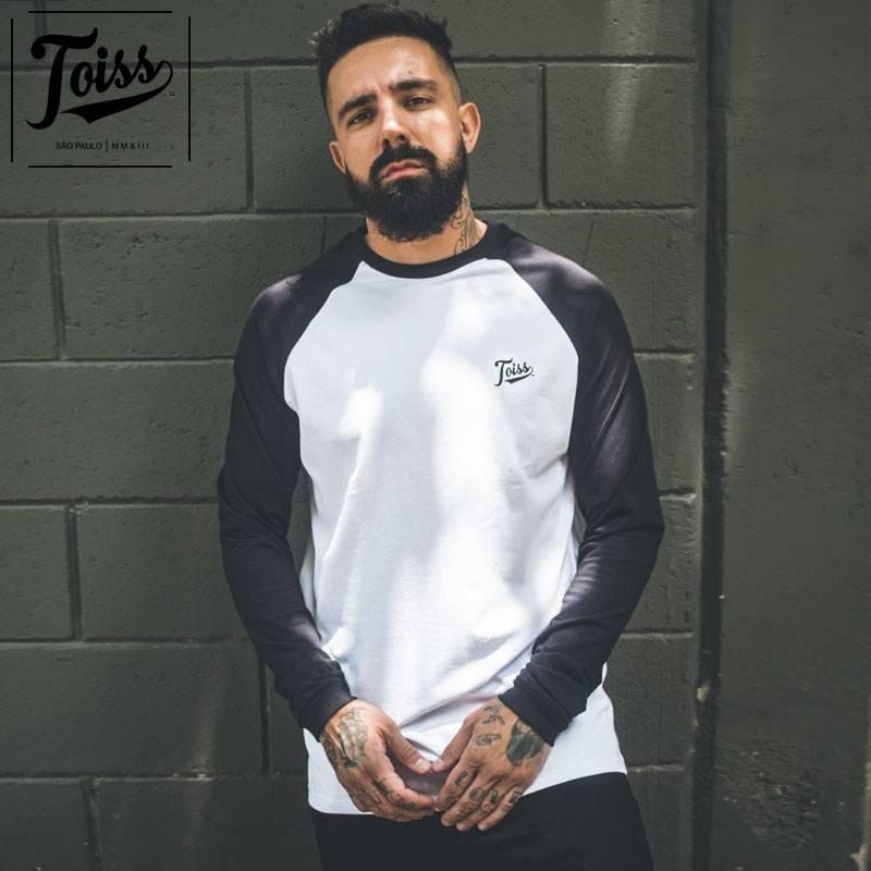 【TOISS】ラグランスリーブロンT バイカラーロングTシャツ ホワイト×ブラック ネイマールブランド