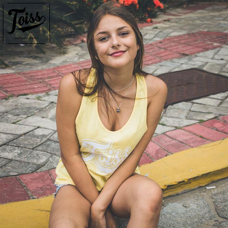 【TOISSレディース】トイスオリジナルロゴタンクトップ AMARELA レーサーバック | レモンイエロー