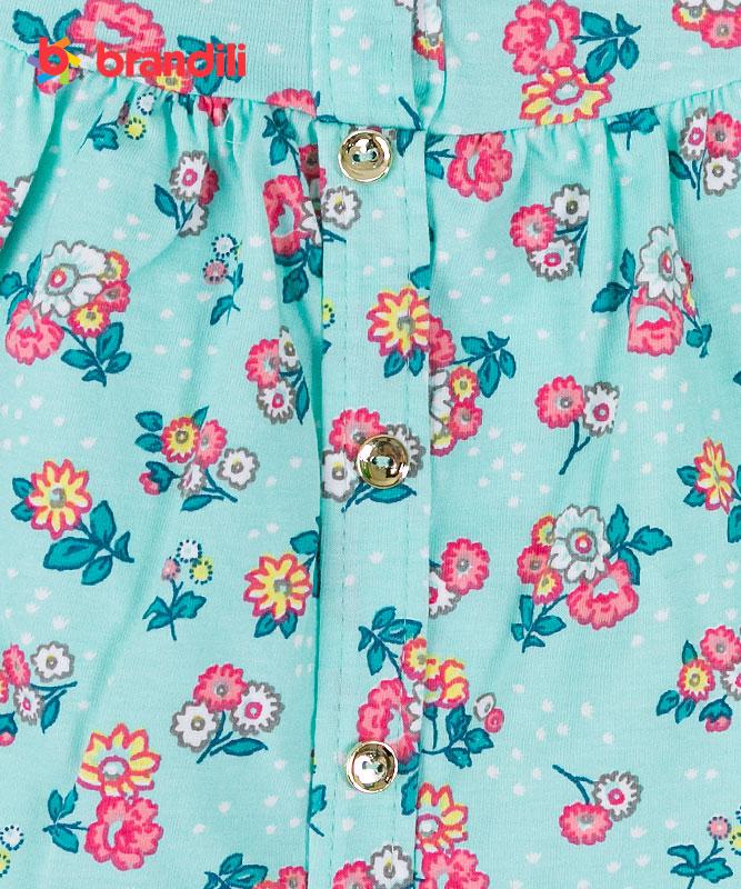 【BRANDILI】女の子ベビーワンピース【普段着・可愛い】小花柄 ミント