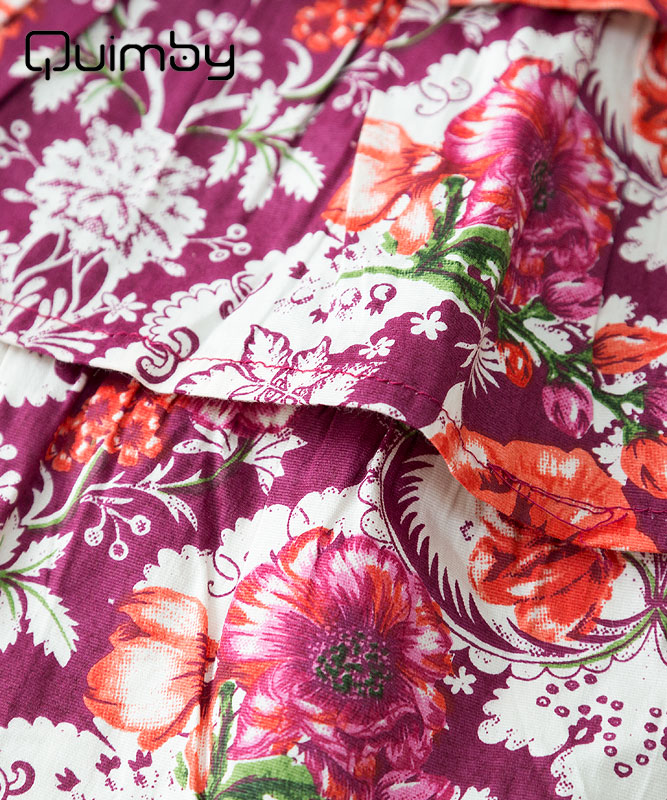 ■30%OFF■【QUIMBY】女の子ドレス【子供服・パーティー】お花柄フリルキャミドレス|ボルドー