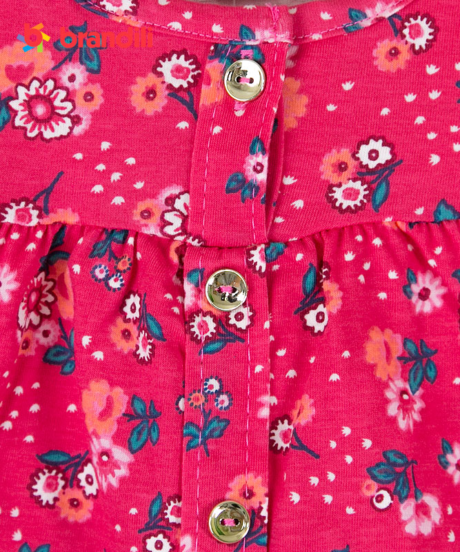【BRANDILI】女の子ベビーワンピース【普段着・可愛い】小花柄 マゼンダ