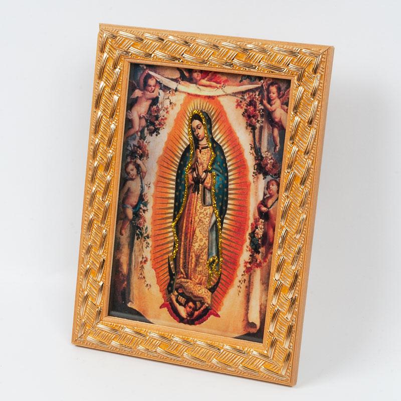 聖母マリア 壁掛け額絵 木製フレーム