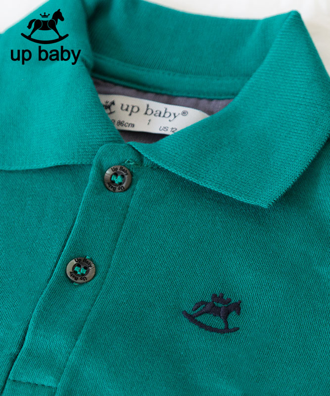 ■30%OFF■【UP BABY】男の子襟付きポロTシャツ【子供服1才〜3才・重ね着にもおすすめ】モスグリーン