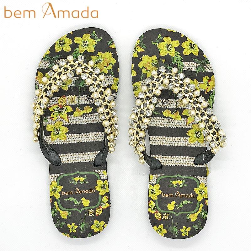 ■50%OFF■【bem Amada】ビジュー付きビーチサンダル【イエローフラワー】|ブラック