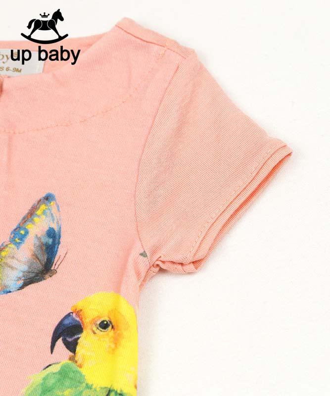 ■30%OFF■【UP BABY】女の子ベビーワンピース【トロピカル・おしゃれ】トロピカルバード|コーラルピンク