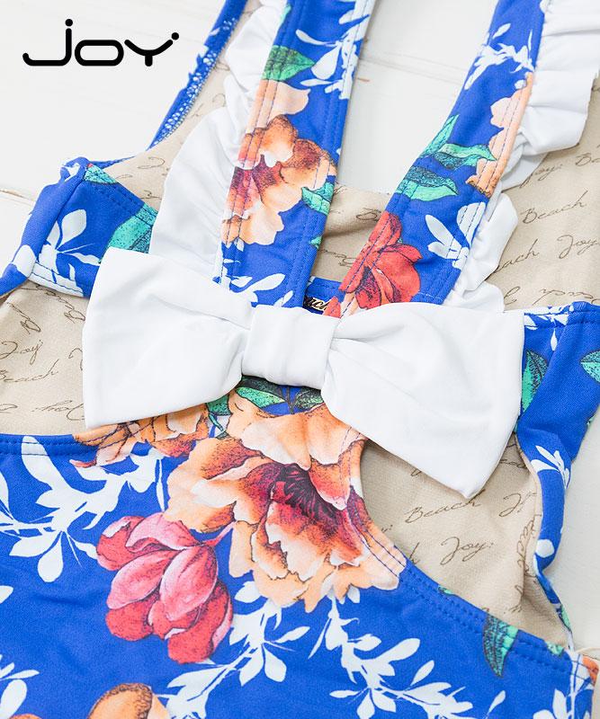 ■30%OFF■【JOY】女の子ワンピース水着【花柄】|ブルー