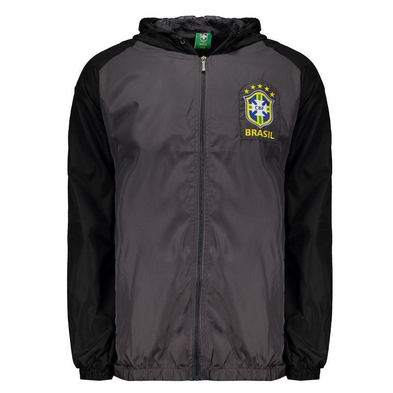 サッカーブラジル代表公式 フード付きウィンドブレーカー グレー