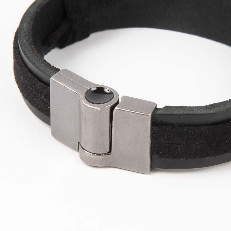 FE+FORCA+CORAGEM ワンタッチ革紐ブレスレット ブラック