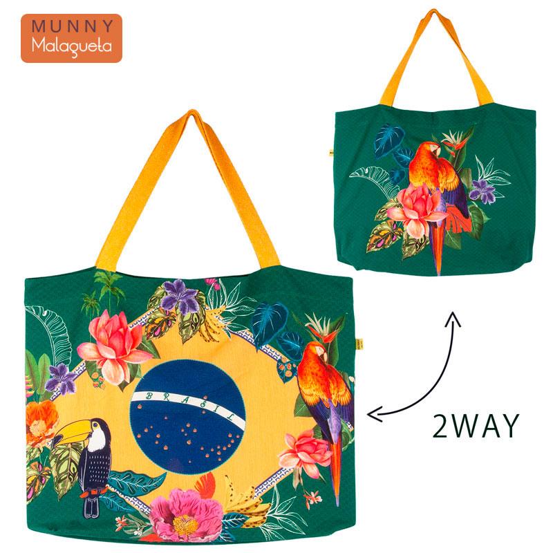 2WAYブラジルデザインバッグ トロピカルバード&花柄 MUNNY by Malagueta