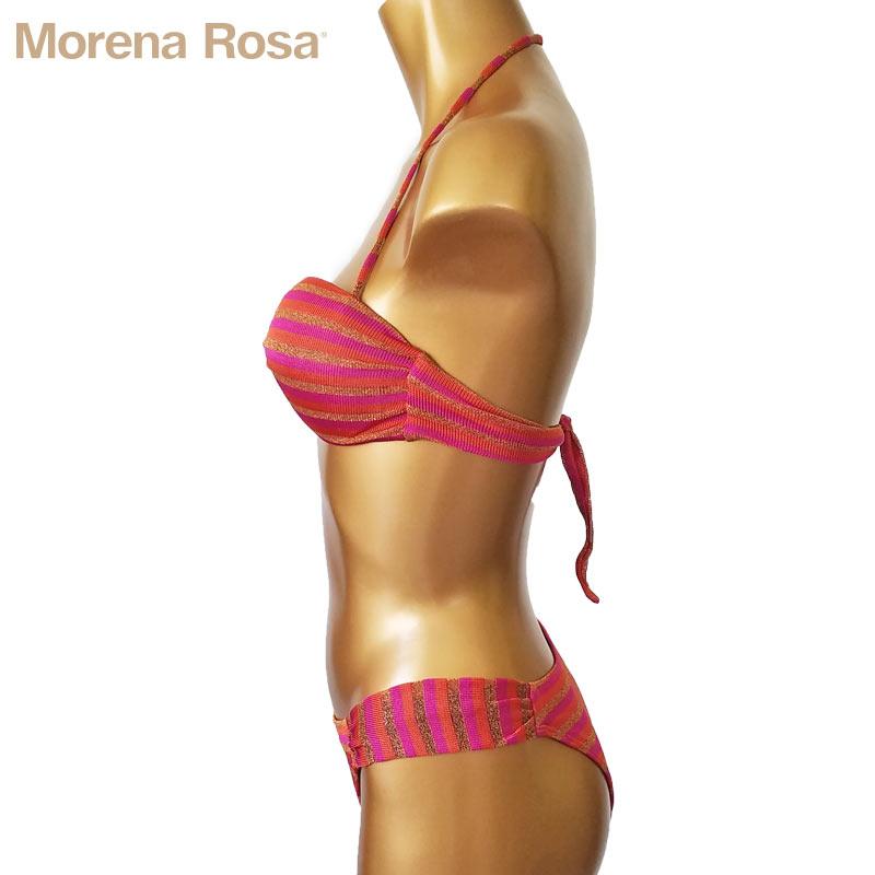 【Morena Rosa】モレナローザ フロントツイストボーダー柄ラメバンドゥ水着|ピンクマルチ