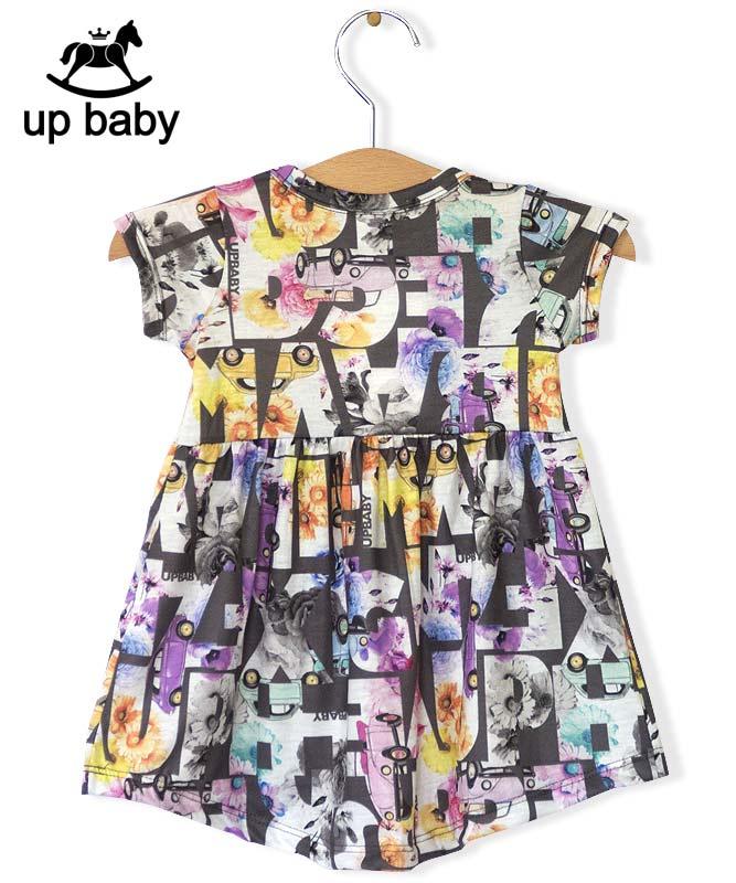 ■30%OFF■【UP BABY】女の子ベビーワンピース【個性派デザイン】車&花柄|ダークグレー