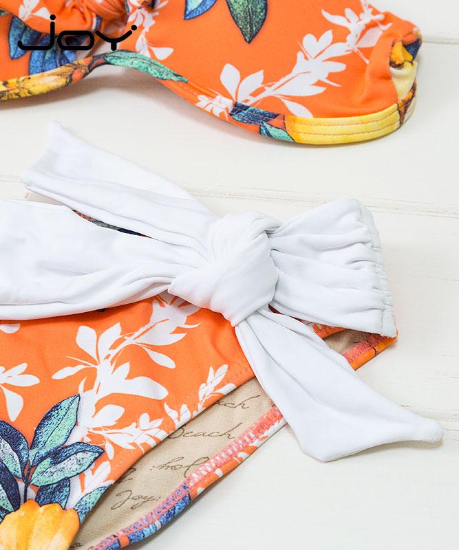 【JOY】女の子セパレート水着【花柄】|オレンジ