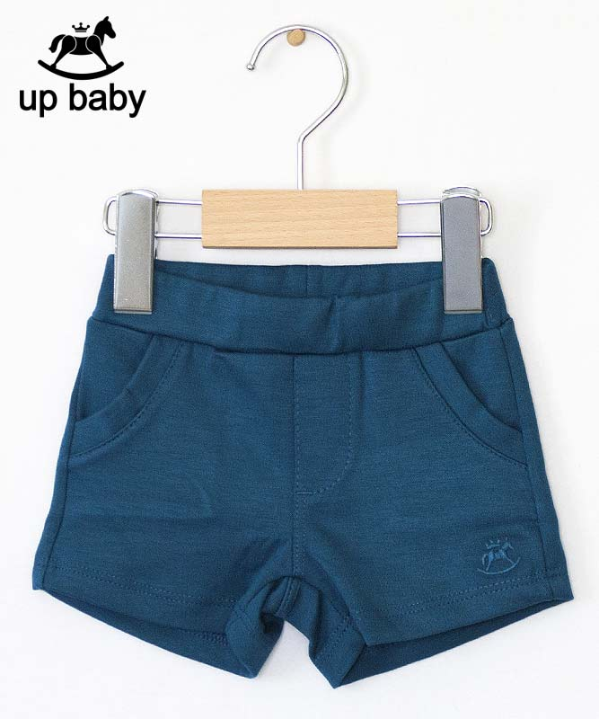 ■30%OFF■【UP BABY】女の子ベビーTシャツ&ショートパンツ【デイリー・おしゃれ着にもOK】ラインストーン花|ホワイト×ピーコックグリーン