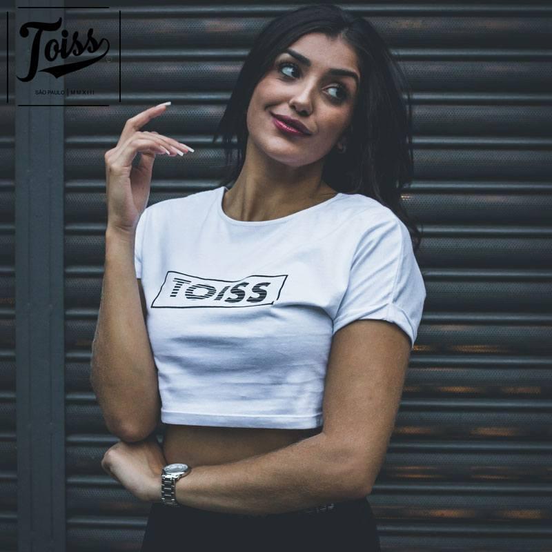 【TOISSレディース】BOXボーダーロゴクロップドTシャツ ホワイト