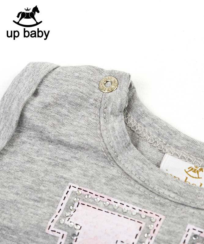 ■30%OFF■【UP BABY】女の子ベビータンクトップ&スカート【内側ズボン付き・おしゃれ】ラインストーンロゴ グレー×ピンク]