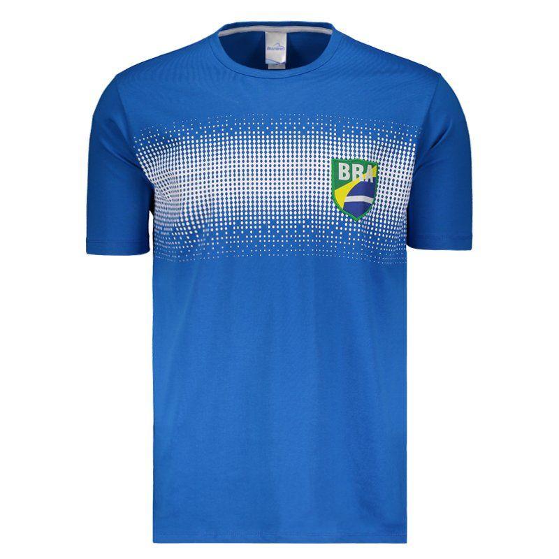 ブラジル国旗コットンTシャツグラデーションデザイン   ブルー