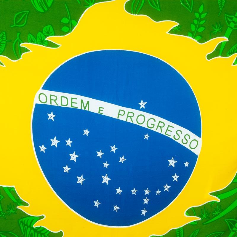 ブラジル国旗ボタニカル柄【ブラジルカンガ】大判クロス