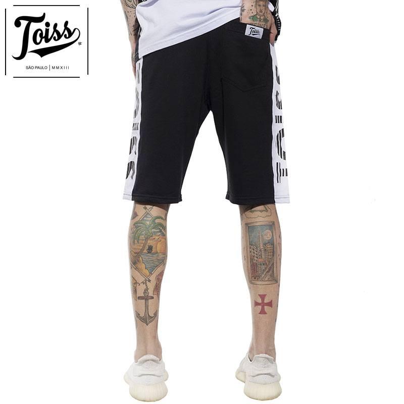 【TOISS】サイドボーダーロゴスウェットハーフパンツ ブラック ネイマールブランド