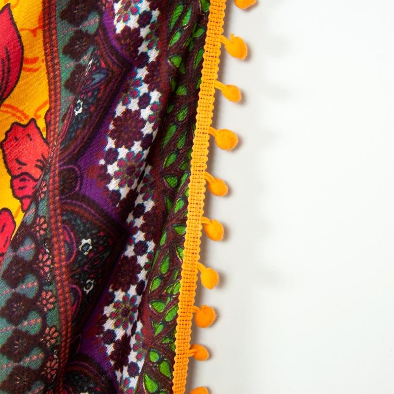 ジプシー花柄 BOHOボヘミアン【ポンポン付き ブラジルカンガ】大判クロス イエロー