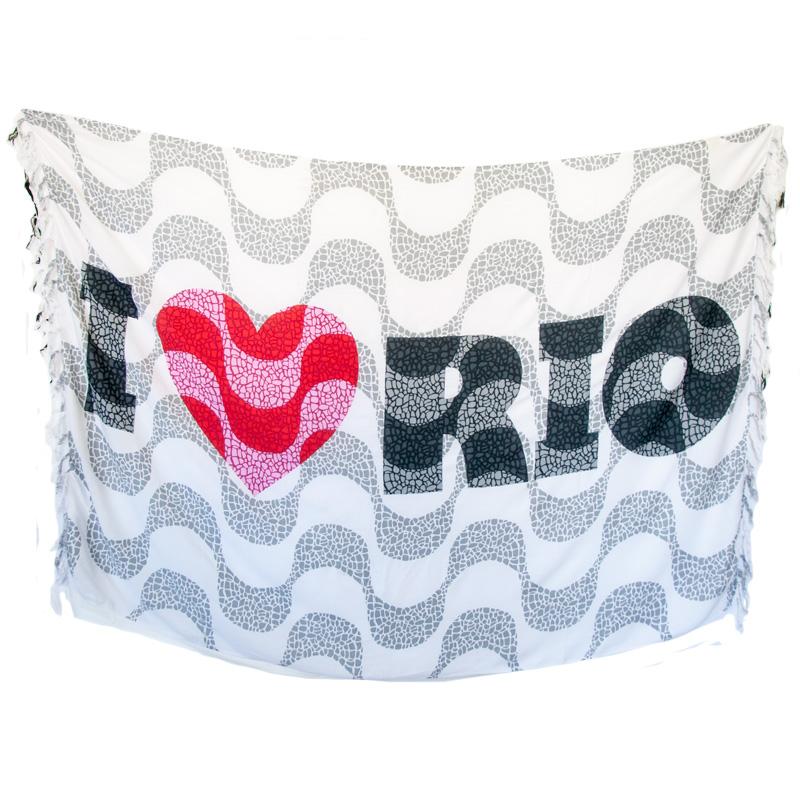 コパカバーナタイル柄I LOVE RIO【ブラジルカンガ】RIODE JANEIROパレオ