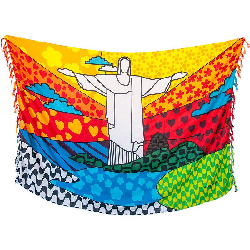 キリスト像リオポップアート柄【ブラジルカンガ】RIO DE JANEIROパレオ