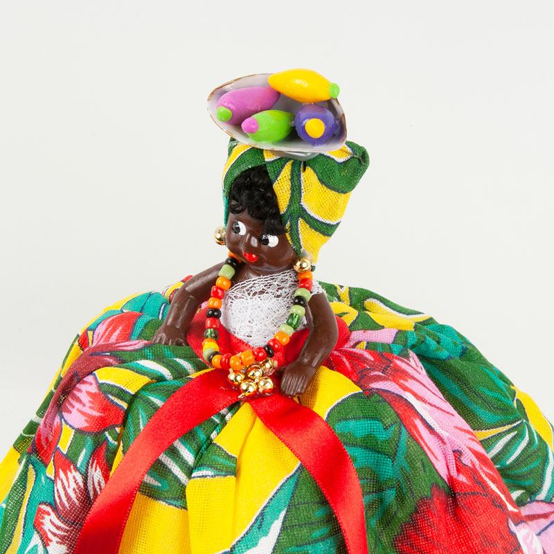 【バイアーナ人形】2wayブラジリアンドール トロピカル花柄B イエロー×ホワイト