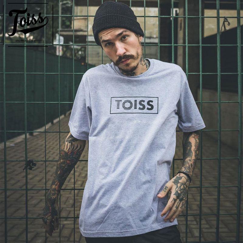 【TOISS】BOXボーダーロゴTシャツ グレー ネイマールブランド