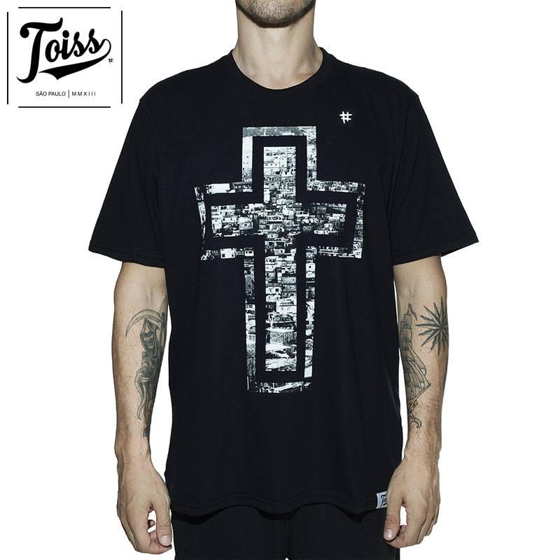 【TOISS】トイス ファベーラクロスデザインTシャツ CRUZ | ブラック