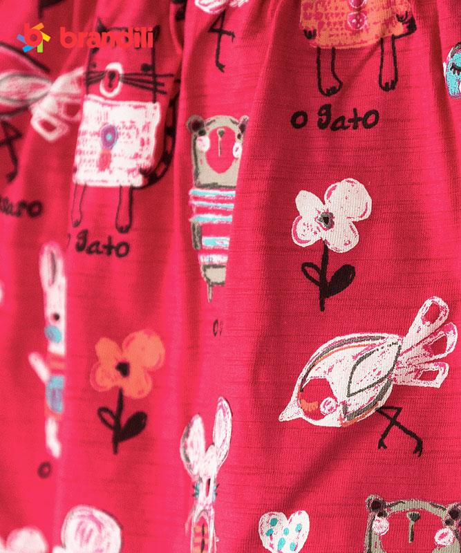 ■30%OFF■【BRANDILI】女の子ベビーワンピース【かわいい・動物】おえかきプリント コーラルピンク