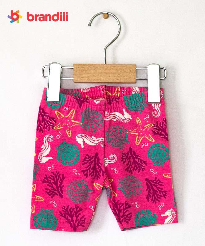 【BRANDILI】女の子ベビーTシャツ&レギンス【上下セット・マリン】貝殻ポシェット柄|ホワイト×ピンク