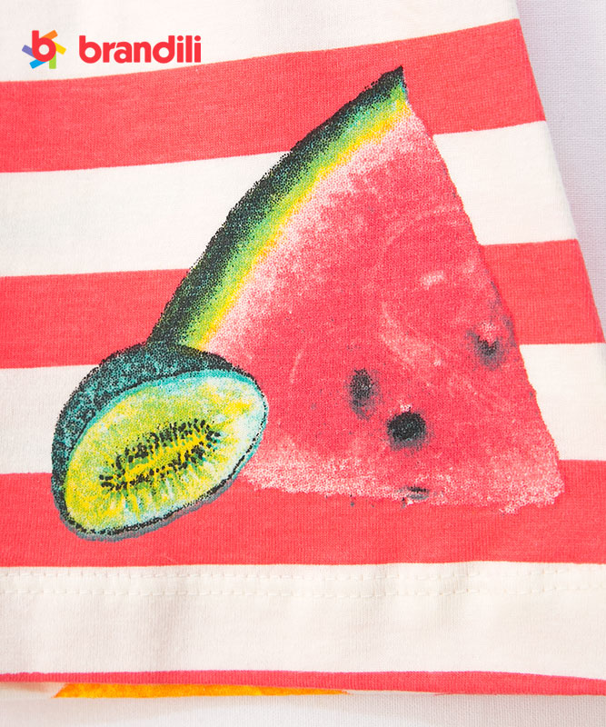 【BRANDILI】女の子ベビーワンピース【ボーダー・かわいい】フルーツ柄ワンピ|コーラル
