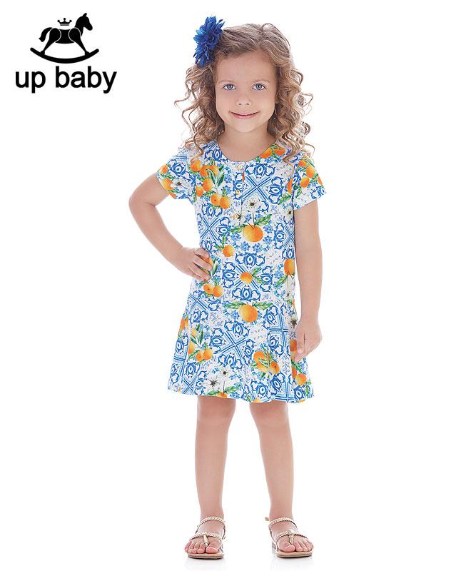 【UP BABY】女の子半袖ワンピース【子供服・おしゃれ着】アラベスク|ブルーマルチ