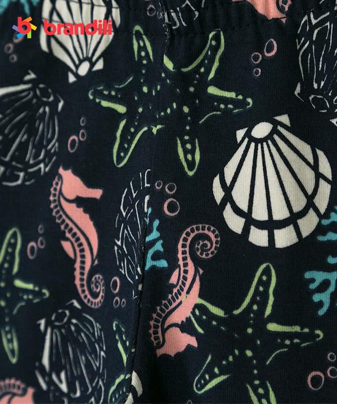 ■30%OFF■【BRANDILI】女の子ベビーTシャツ&レギンス【上下セット・マリン】貝殻ポシェット柄 ベビーピンク×ネイビー