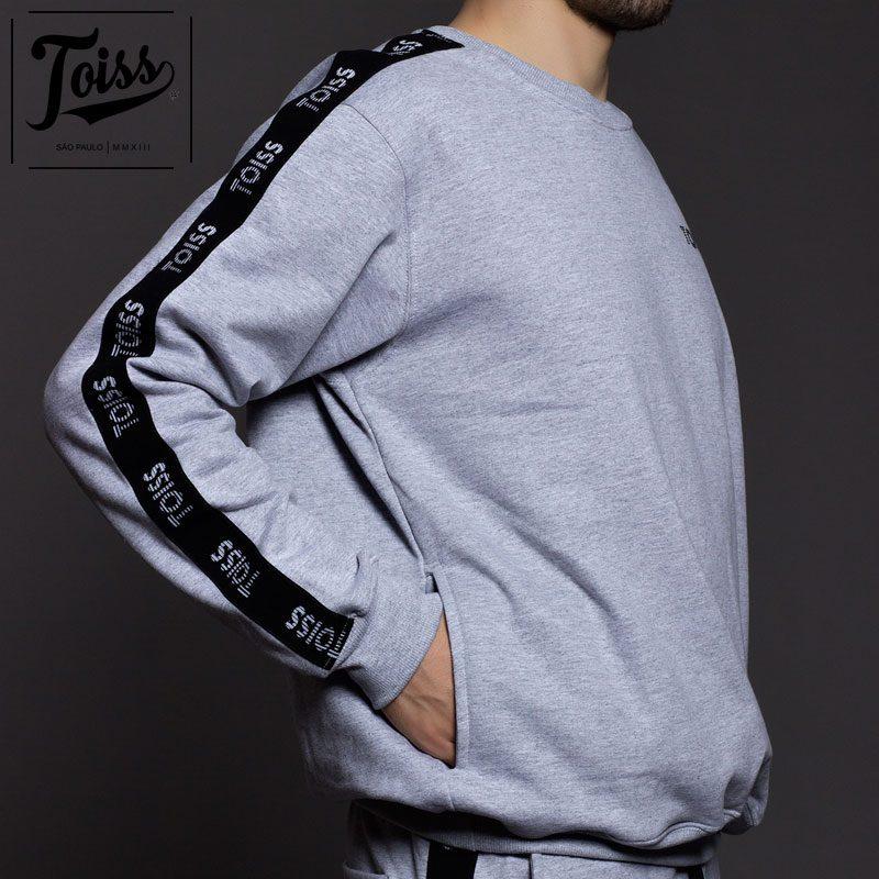■SALE■【TOISS】トイス ボーダーロゴ サイドテープ 親指穴付きスウェットトレーナー| グレー
