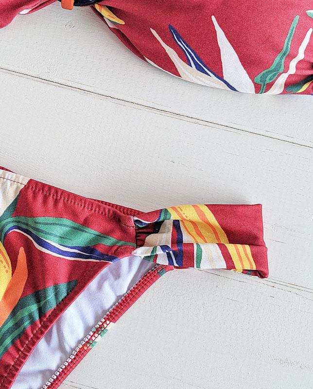 【Morena Rosa】フロントリング付きボタニカルバンドゥ—水着 レッドマルチ