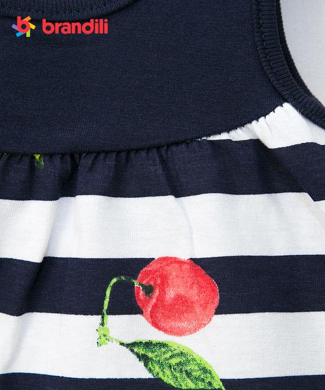 【BRANDILI】女の子ベビーワンピース【ボーダー・かわいい】フルーツ柄ワンピ ネイビー
