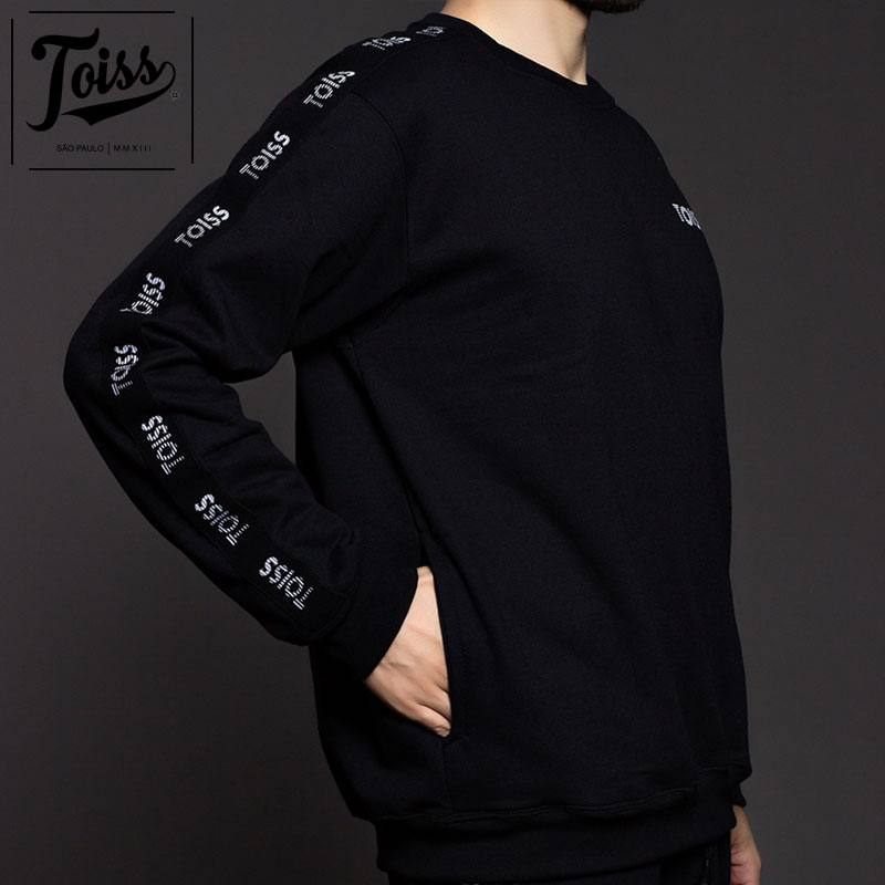 ■30%OFF■【TOISS】トイス ボーダーロゴ サイドテープ 親指穴付きスウェットトレーナー| ブラック