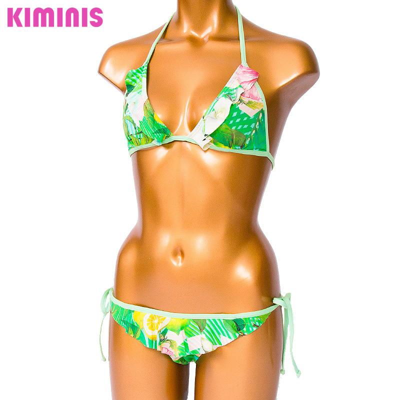 ■30%OFF■【KIMINIS】キミニス フリルが可愛いトロピカル柄トライアングルビキニ/水着