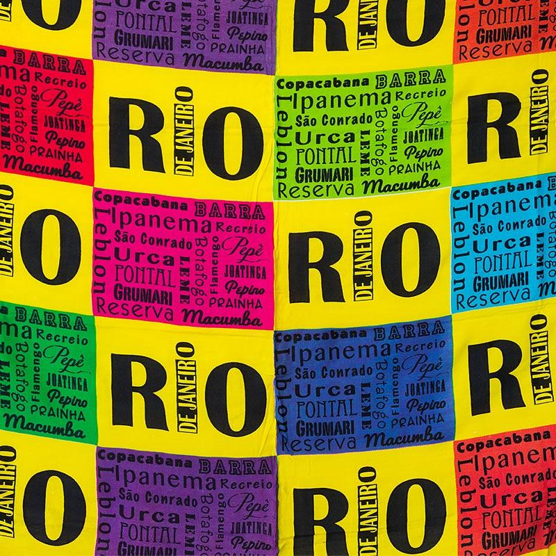 RIO柄リオのビーチロゴデザインカンガ【ブラジルカンガ】