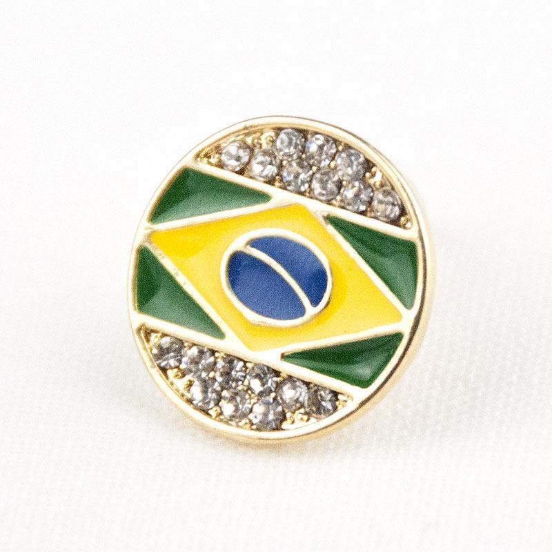 ブラジル国旗モチーフピアス|サークル