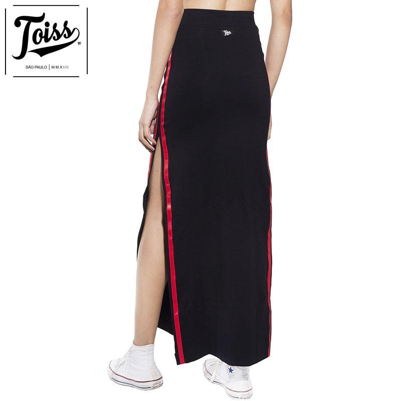 【TOISSレディース】redライン スリットロングスカート ブラック