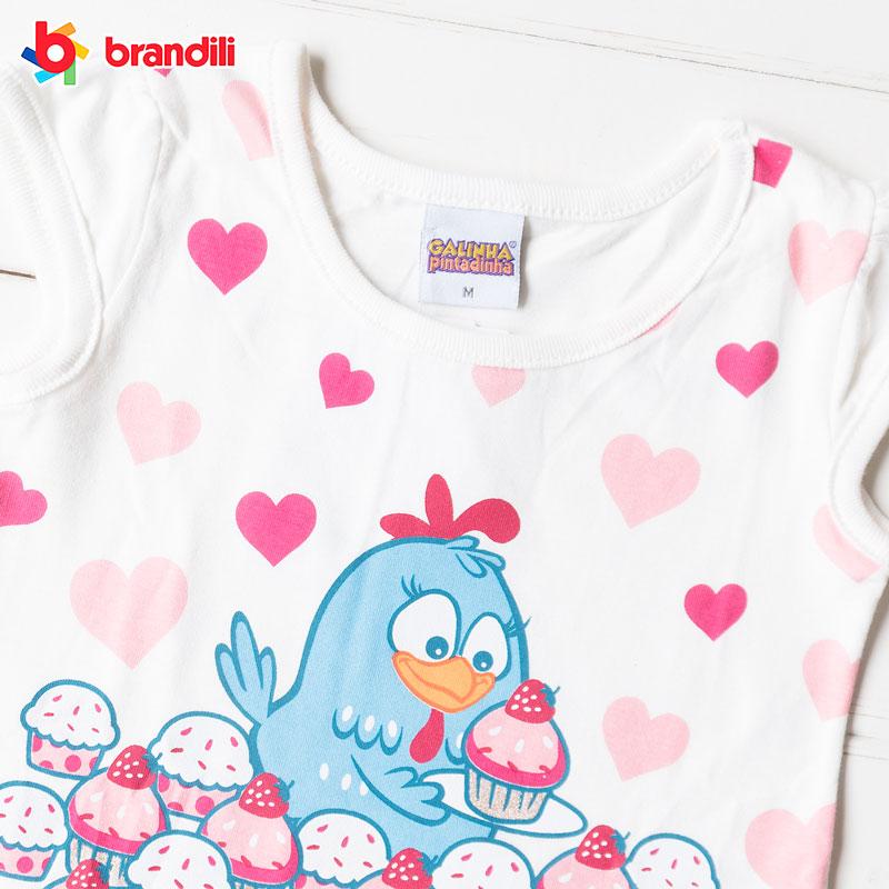 GALINHA PINTADINHA デザインTシャツ&レギンスセット ホワイト×マゼンダ brandili