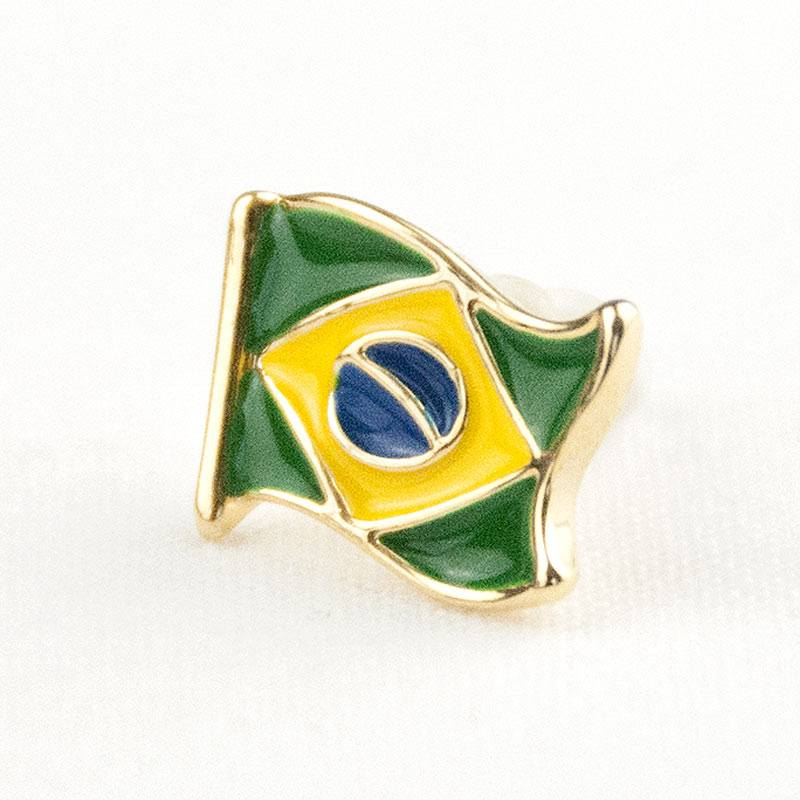 【シンプル】ブラジル国旗モチーフピアス