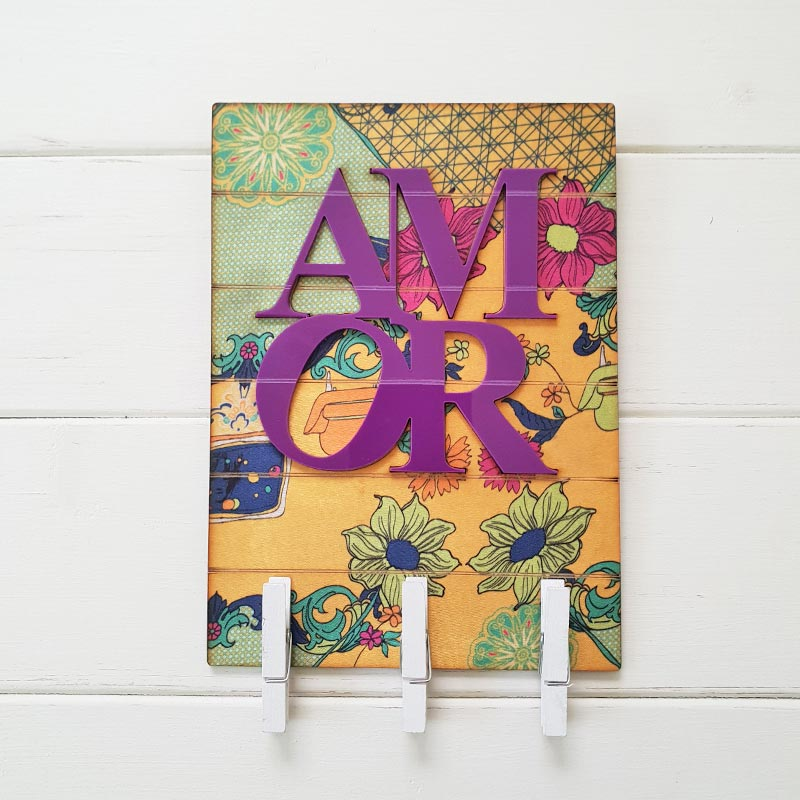 【MUNNY】クリップ付き壁掛けインテリア【AMOR】   パープルマルチ