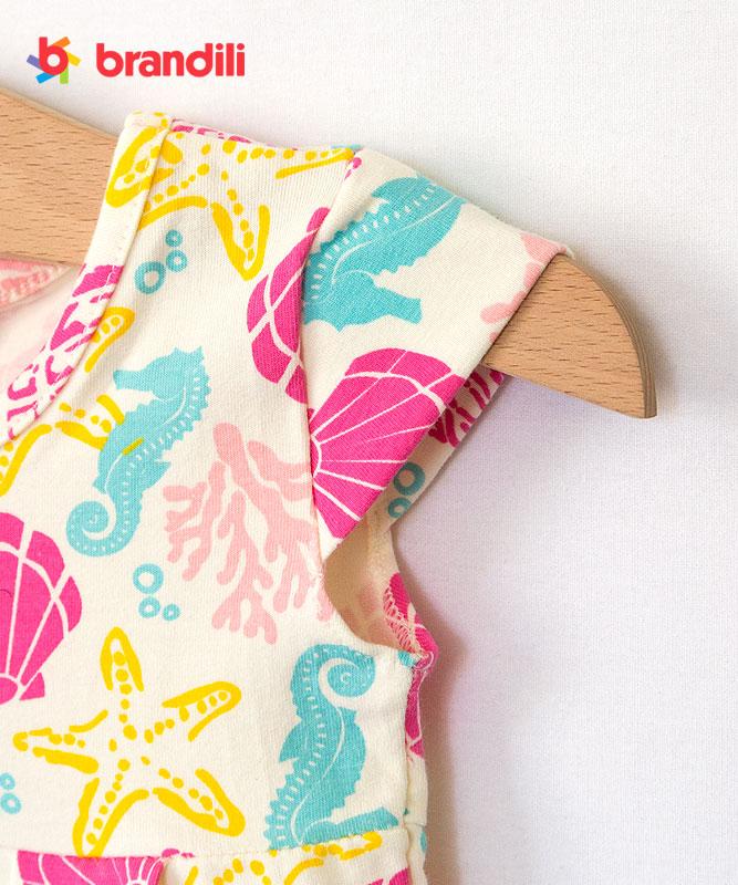 ■30%OFF■【BRANDILI】女の子ベビードレス【かわいい】海モチーフデザイン|オフホワイト