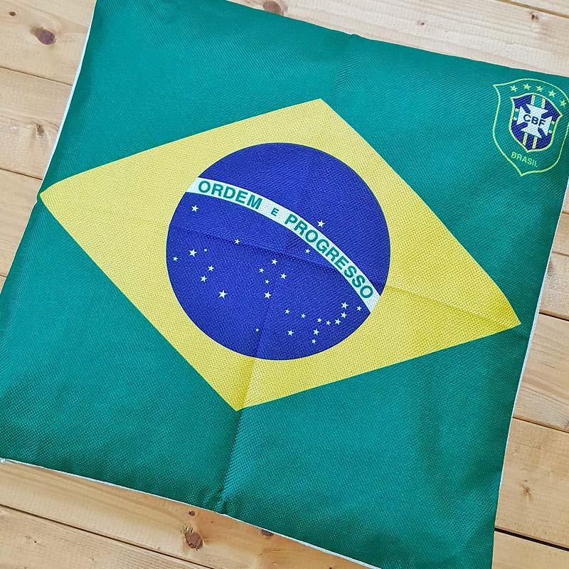 【サッカーブラジル代表】CBFエンブレム付きブラジル国旗【クッションカバー】   ブラジルカラー