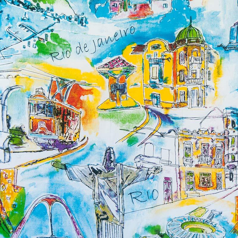 リオトリップ柄アート風【ブラジルカンガ】RIO DE JANEIROパレオ