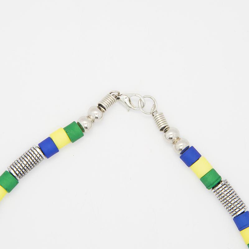 男女兼用ブラジルカラービーズネックレス&ブレスレット2点セット